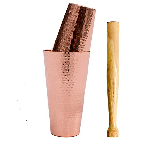 Prince of Scots Premium Hammered Solid Copper Cocktail Shaker with Muddler ()