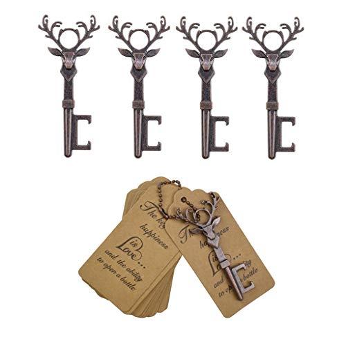 DerBlue 40 PCS Christmas Reindeer Key Bottle Openers,Vintage Key Bottle Opener, Wedding Favors Key Bottle Opener Rustic Decoration with Escort Tag Card(Red Copper) (Wedding Christmas Rustic)