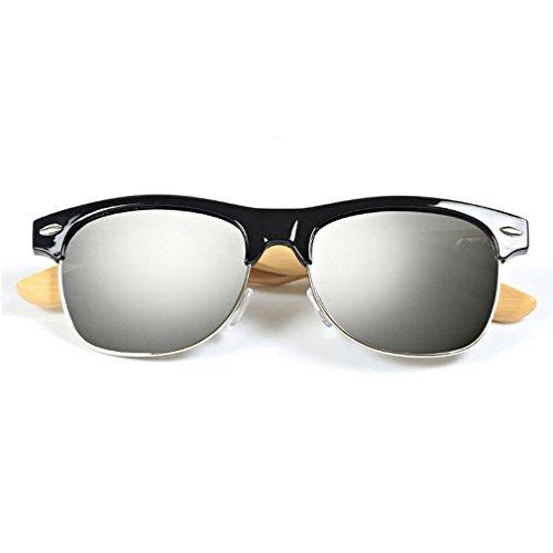LOMOL Fashion Wooden Frame UV Protection Dazzle Color Lens Wayfarer Sunglasses(C2) (No Prescription Color Contacts)