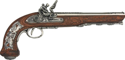 Denix Colonial Replica French Silver Dueling Pistol Non Firing Gun