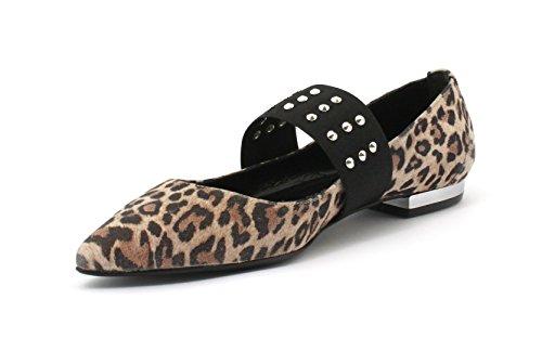 Cuoio Passeri Leopardo Cam Fondo Emanuela 7422 Ballerina xTSqwd7Wg4