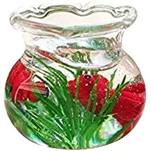 Gbell Mini Cute Fish Tank for 1/6 1/12 Scale Miniature Dollhouse Accessories,Little Girls Pretend Toy,Resin,Black Red Yellow (Red)