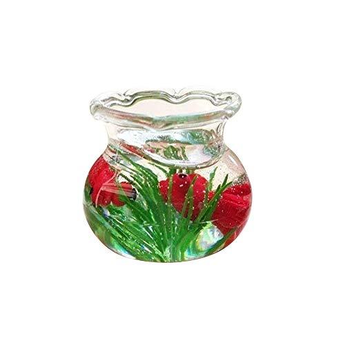 Livoty Mini Miniature Fish Tank Decor Toys Resin Accessory Education Toy for 1/6 1/12 Dollhouse Cleve ()