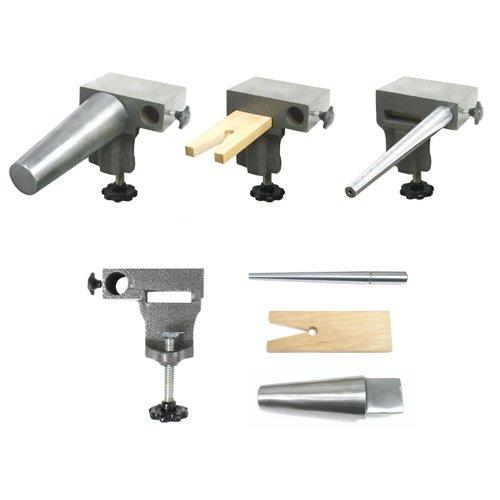 Bench Anvil Combo Kit - Round Bracelet and Ring Mandrels, Anvil, V Slot Bench Pin - SFC Tools - 13-134 (Metal Screws Slotted Thumb)
