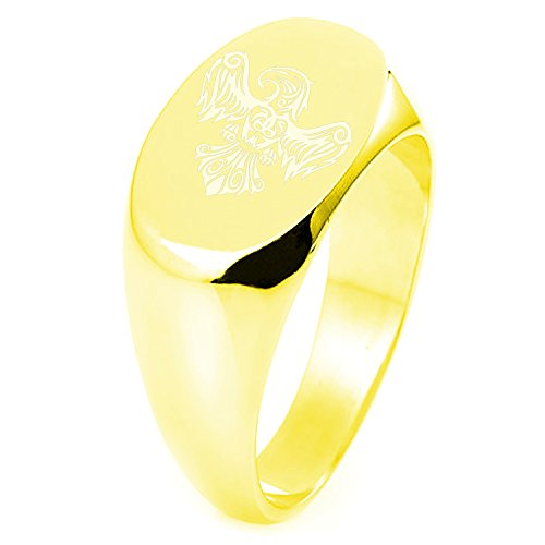 (Gold Plated Sterling Silver Aztec Power Strength Courage Rune Symbol Engraved Oval Flat Top Polished Ring, Size 8)