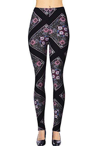 Bold Floral Print - VIV Collection Plus Size Printed Brushed Leggings (Floral Pathway)