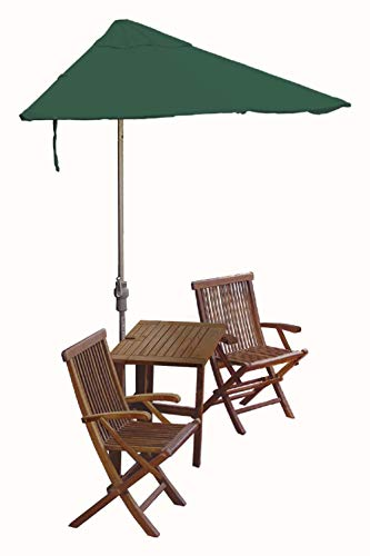 Blue Star Group Terrace Mates Villa Premium Table Set w/ 9'-Wide OFF-THE-WALL BRELLA - Green SolarVista Canopy 9' Green Solarvista Set