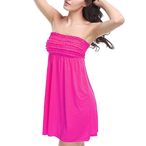 JIAJIA - Camisola - sujetador bandeau - Básico - Sin mangas - para mujer Rosado