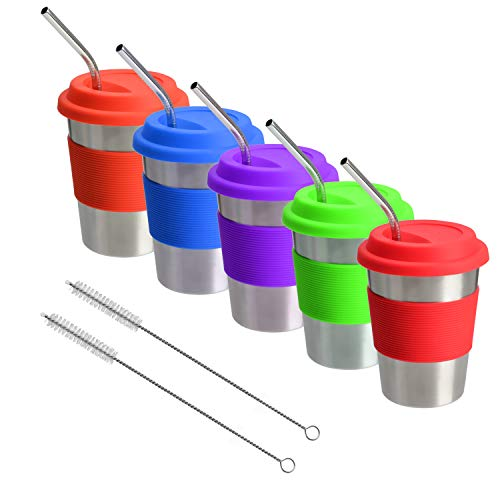 Stainless Steel Cups with Lids and Straws, 12 Oz Drinking Tumbler with Silicone Sleeves for Kids/Adults, Unbreakable Metal (5 Pack)