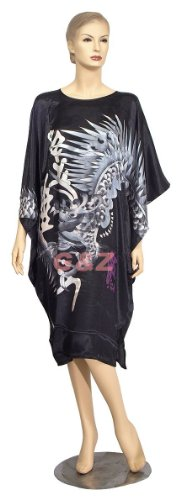 Chinese Silk Big-T Gowns (Black with White Dragon Caftans)