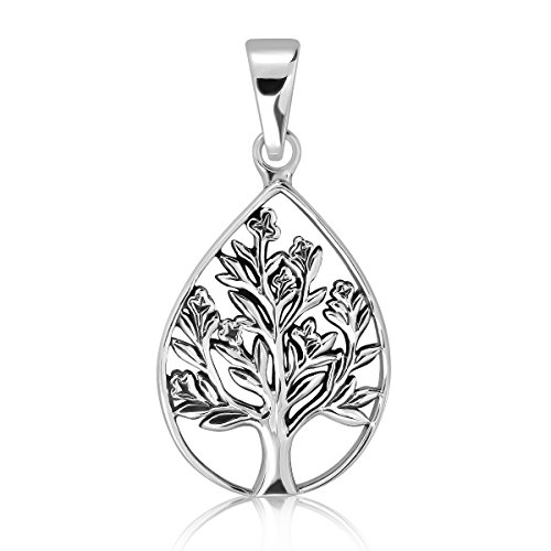 WithLoveSilver 925 Sterling Silver Filigree Cut Out Teardrop Celtic Tree of Life Pendant