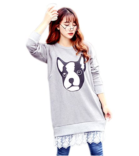 YueLian Women's Dog Print Long Lace Edge Pullover Crewneck Tunic Sweatshirt Top (XXL) Lace Edge Tunic Sweater