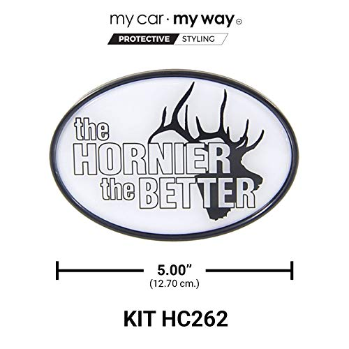 """MY CAR MY WAY Fits 2"""" Trailer Hitch - The Hornier The Better - Elk"""