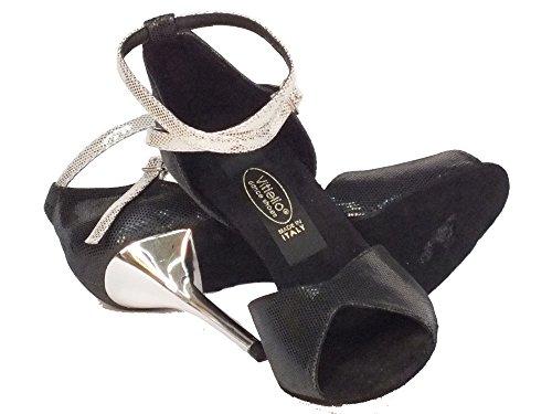 Damen Nero satinato Dance Schwarz Sandalo nero Vitiello Tanzschuhe nero Shoes Satinato xXZtqOqw8