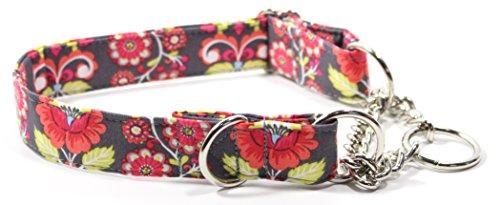 Santa Fe Half Check Chain Collar, Designer Cotton Dog Collar, Adjustable Handmade Fabric Collars (M)