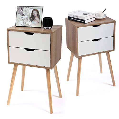 Tobbi Set of 2 Nightstand Bedside Table Sofa End Table Bedroom Decor 2 Drawers Storage