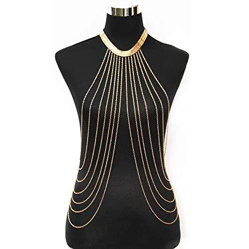 JoJo & Lin Gold Tone Body Chain Adjustable Harness with Fine Chain Multirow Necklace by JoJo & Lin (Image #7)