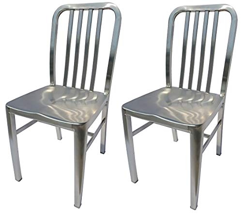 Alex Land Modern Stainless Steel Dining Chair - Indoor or Outdoor (Pack of 2), Standard Size - Chairs Stainless Kitchen Steel