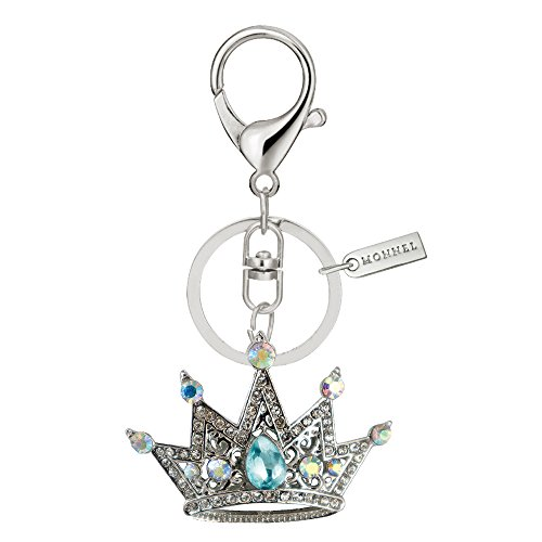 Crown Design Metal Key Chains - Bling Blue Crystal Crown Design Keychain Key Ring with Pouch Bag MZ900-4