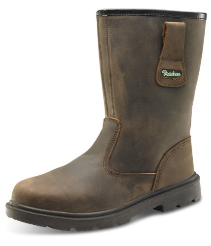 Click Workwear Mens Leather Safety Rigger Work Boot In Brown Size 10