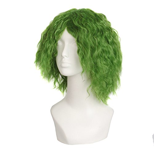 Female Psycho Clown Costume (Halloween Cosplay Messy Green Hair Wig Heath Fancy Dress Psycho Clown Wig Costumes)