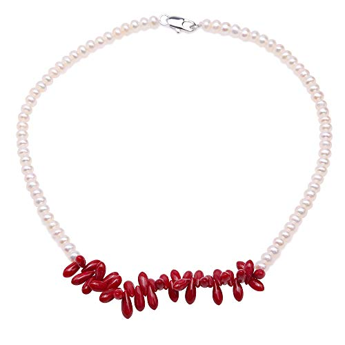 JYX Pearl Necklace Single-Strand Handmade 5-5.5mm Flatly Round White Freshwater Cultured Pearl Necklace with Red Coral for Women 16