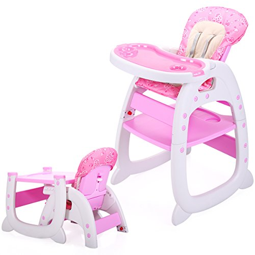 LAZYMOON 3 in 1 Toddler Highchairs Booster Seats Convertible High Chair w/ Feeding Tray Pink