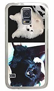Transparent Fashion Case for Samsung Galaxy S5 Generation Plastic Case Cover for Samsung Galaxy S5 with Black and White Dog