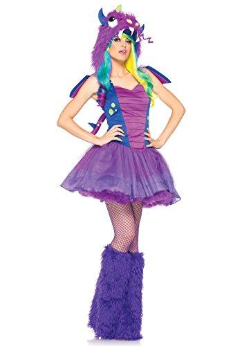[Leg Avenue Women's 3 Piece Darling Dragon Monster Costume, Purple/Blue, X-Small] (Purple Monster Costumes)