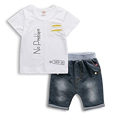 Little Boy Outfit, 2 PCS Kids Short Set 2017 New Print Tee and Jeans Shorts