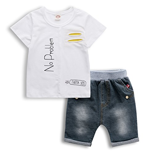 Little Boy Outfit, 2 PCS Kids Short Set 2017 New Print Tee and Jeans Shorts,White,5
