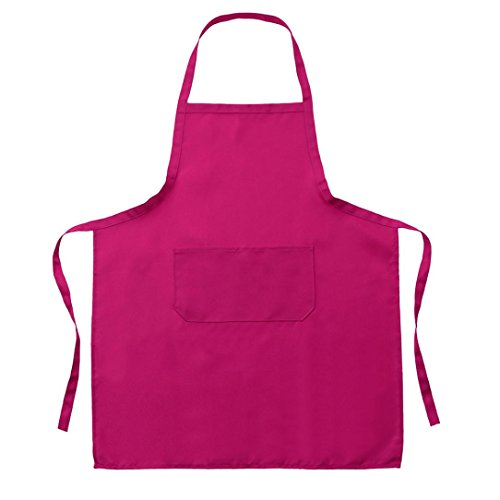 (Vibola Adjustable Bib Apron Waterdrop Resistant with Pockets Cooking Kitchen Aprons for Women Men Chef Kitchen, BBQ, and Grill (C-Hot Pink))