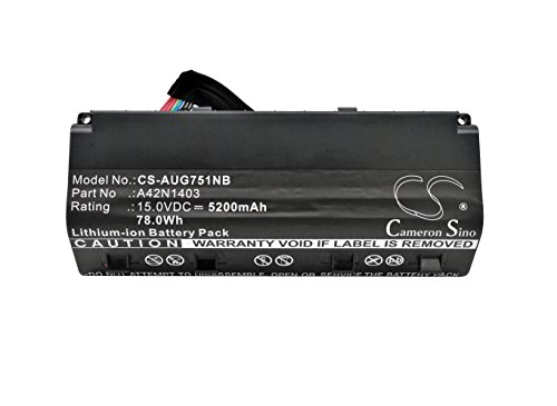 Asus 0B110-00290000M, A42LM93, A42LM9H, A42N1403 Battery - Replacement for Asus G751J G751JM ( Li-ion, 15.00V, 5200mAh / 78.0Wh ) by Cameron Sino