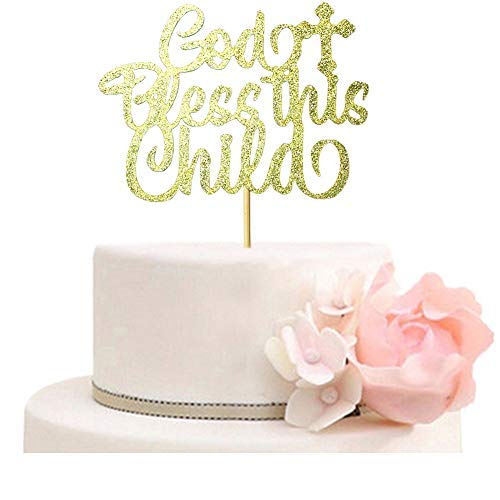 Cross Baby Bless God (God Bless This Child Cake Topper for Baptism, Christening, First Communion Baby Shower, A Child of God Cake party Decorations Gold Glitter)