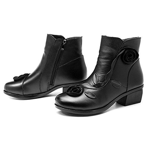 Socofy Damen Kurzschaft Stiefel, Damen Ankle Boots Blume Boots Kurz Stiefel Handmade Lederstiefel Leather Chukka Boots für Frau (Hersteller-Größentabelle IM Bild Beachten) Schwarz ohne Fell 7