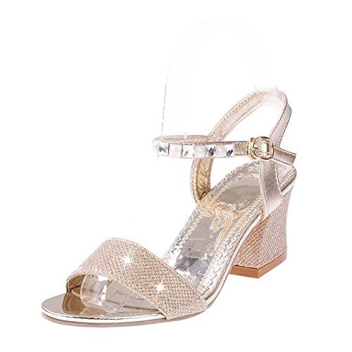 Plataforma Tacón Mujer Calidad Gene para Alta Cuña Zapatos Abiertos de de de Dorado Sandalias de Verano Peg qFWgtY