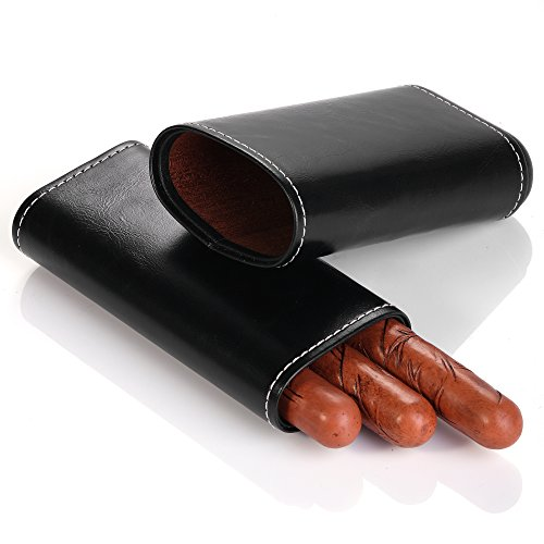 Leather Hard Cigar Case - MEGACRA Cigar Case Portable Black Leather and Interior Cedar Lining 3 Cigar Carrying Travel Case Holder Black