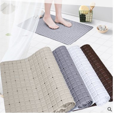 YQN Bathroom mat Shower shatter-resistant foot pad 28 X 15.5 Inch Plaid bath mat Mildew Resistant Anti-Bacterial Bathtub Mat Grey