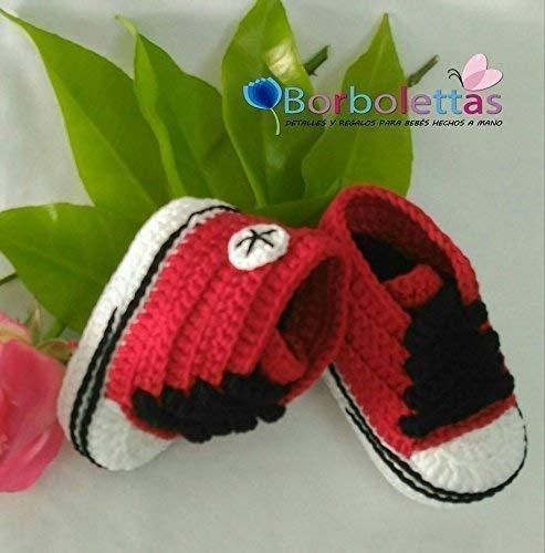 Patucos para Bebé Recién Nacido tipo Converse, 3-6 meses Rojo-Negro ...