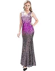 Sleeveless V-Neck Sequin Long Dress
