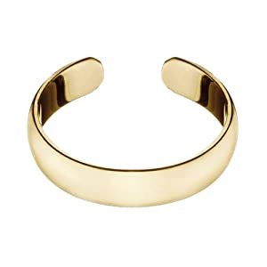 Gold Tone Over Sterling Silver 4mm Polished Plain Band Adjustable Size Toe Ring