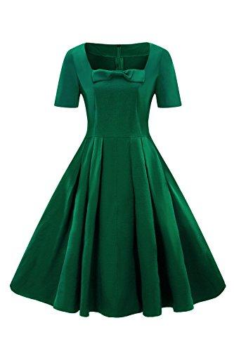 0bfdcb9d9c88 MisShow Damen elegant Karree-Ausschnitt Sommerkleid Cocktailkleid  Festliches Kleid Petticoat Kleid Midi-Lang Grün
