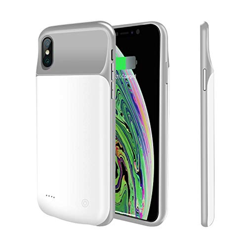 Battery Case Compatible iPhone Xs Max, 4000mAh i.VALUX Ultra Slim Light Portable Charger Case Extended Rechargeable Battery Pack Power Bank Charging Case Cover for Apple iPhone Xs Max 6.5 Inch (White)