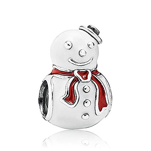 (Romántico Amor Christams Happy Snowman Winter Charms Red Plated Silver Bead fit Pandora Bracelet)