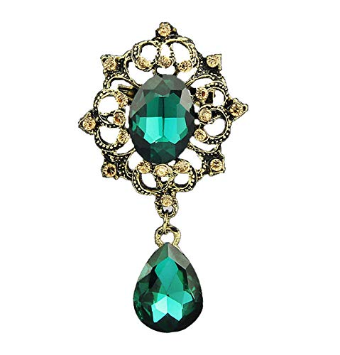 ihuoshang Vintage Brooches Pin with Large Cz Stone Pendent Waterdrop Rhinestone Unique Red Jewelry Green Jewelry,Green