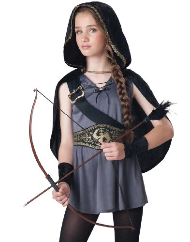 Fun World InCharacter Costumes Tween Kids Hooded Huntress Costume, Grey/Black, L (12-14)