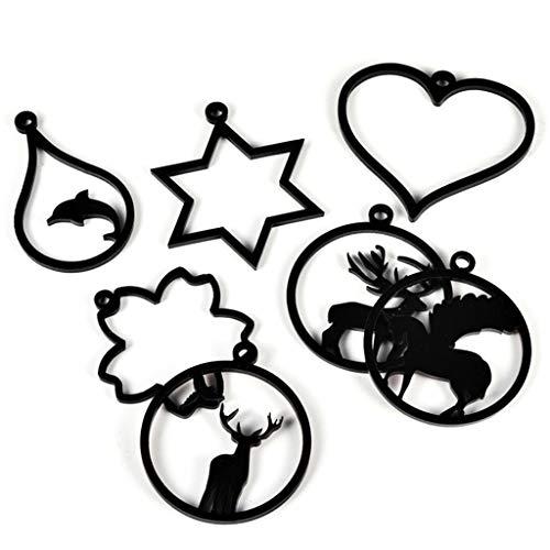 EHOO 9 Pcs/Set Pendant Tray - DIY Handmade Frame Crafts Epoxy Resin Acrylic Making Jewelry Home Decoration Ornaments Tools Heart Deer Snowflake Accessories