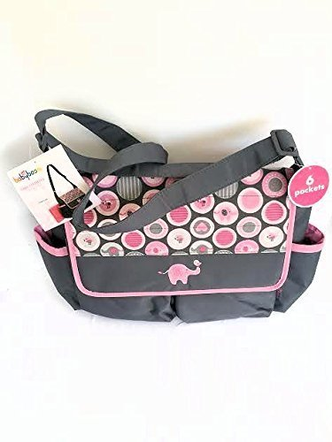 Diaper Tote Bag with Changing Pad, Babyboom 6 pocket with Elephant by Baby Boom by Baby Boom