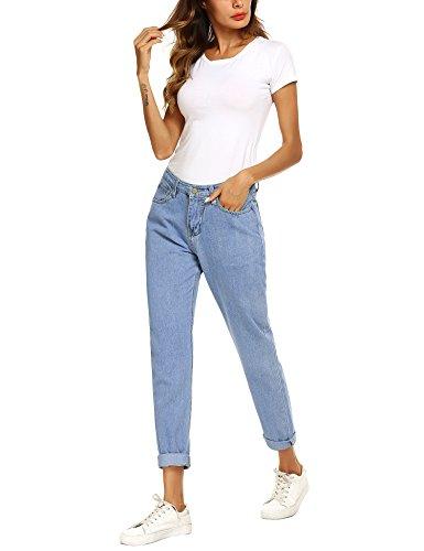 Jeans Taille Skinny Femme Droite Jeans Haute Light Coupe Jeans Basique Denim Slim Blue Jean Romanstii Boyfriend Mom p4ngq7BB
