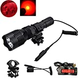 WindFire [A Complete Set] WF-802 350 Lumens Waterproof 18650 Battery Tactical Flashlight 250 Yards Long Range Throwing RED Hunting Light RED Cree LED Coyote Hog Hunting Light Lamp Torch with Remote Pressure Switch & Barrel Mount 18650 Rechargeable battery and Charger for Hunting Fishing